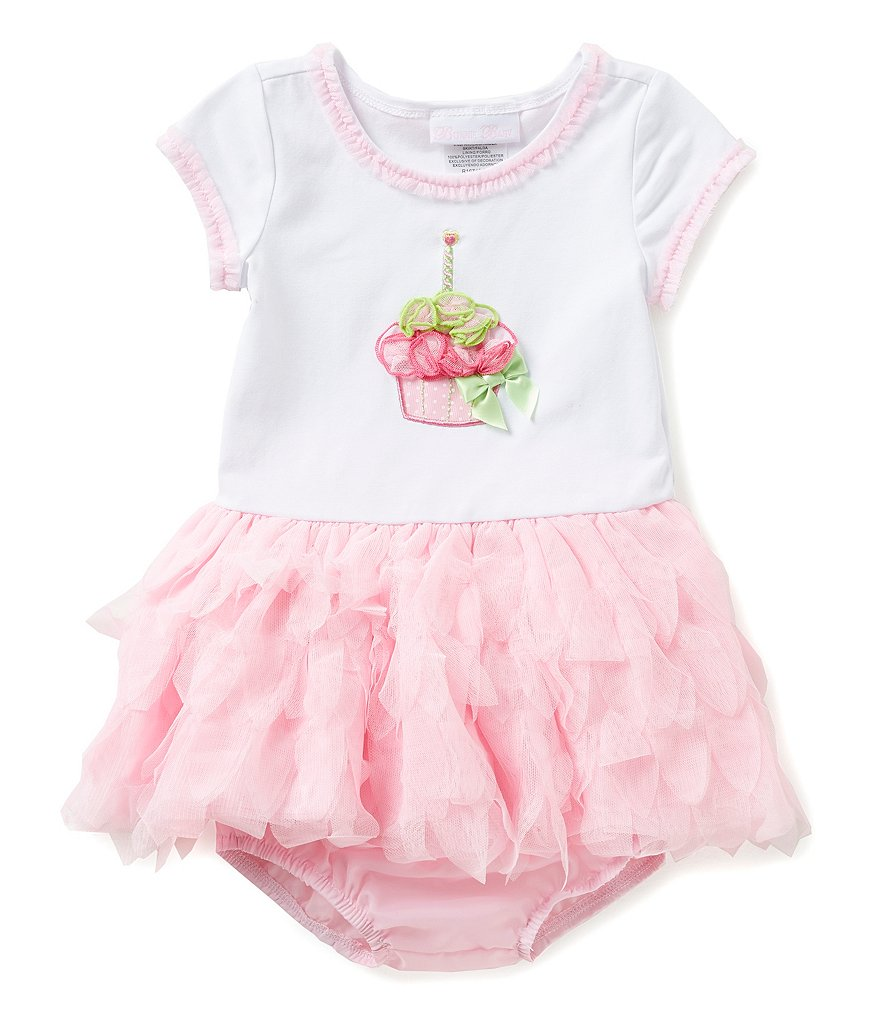 Bonnie Baby 12-24 Months Birthday Cupcake Tutu-Skirted Colorblock Dress