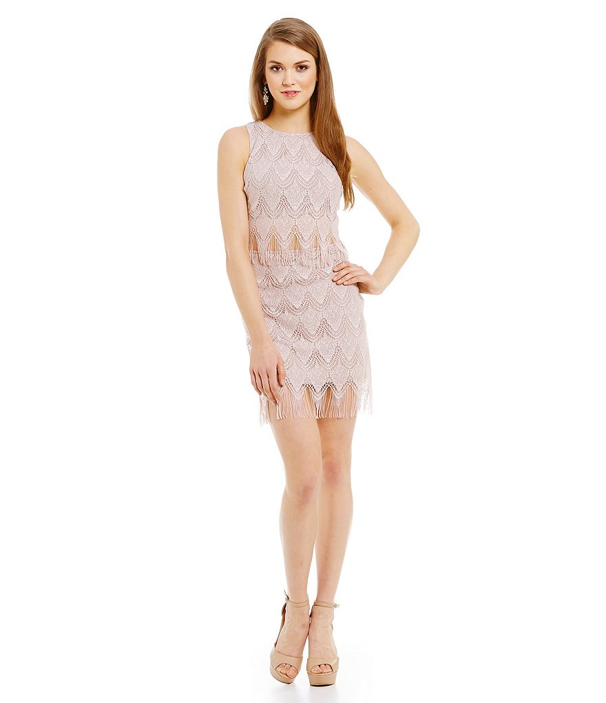 Teeze Me Fringe Trim Mock Two-Piece Sheath Dress