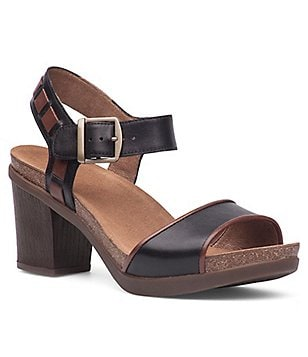 Dansko Debby Leather Banded Ankle Strap Block Heel Sandals