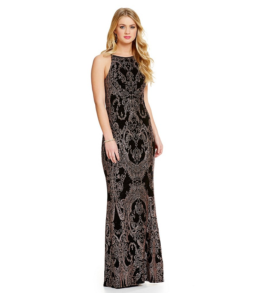 Jump High Neckline Glitter Slinky Long Dress
