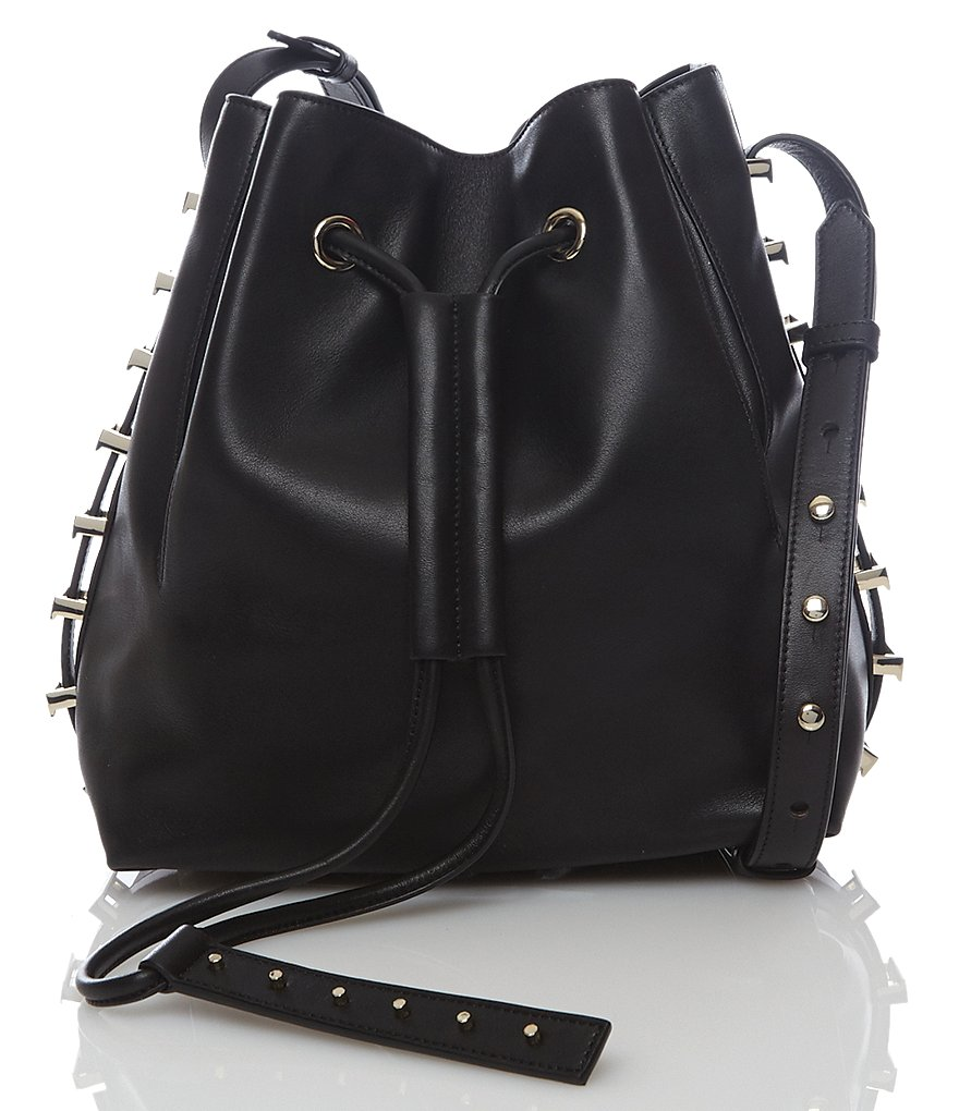 Luana Italy Nico Studded Drawstring Bucket Bag
