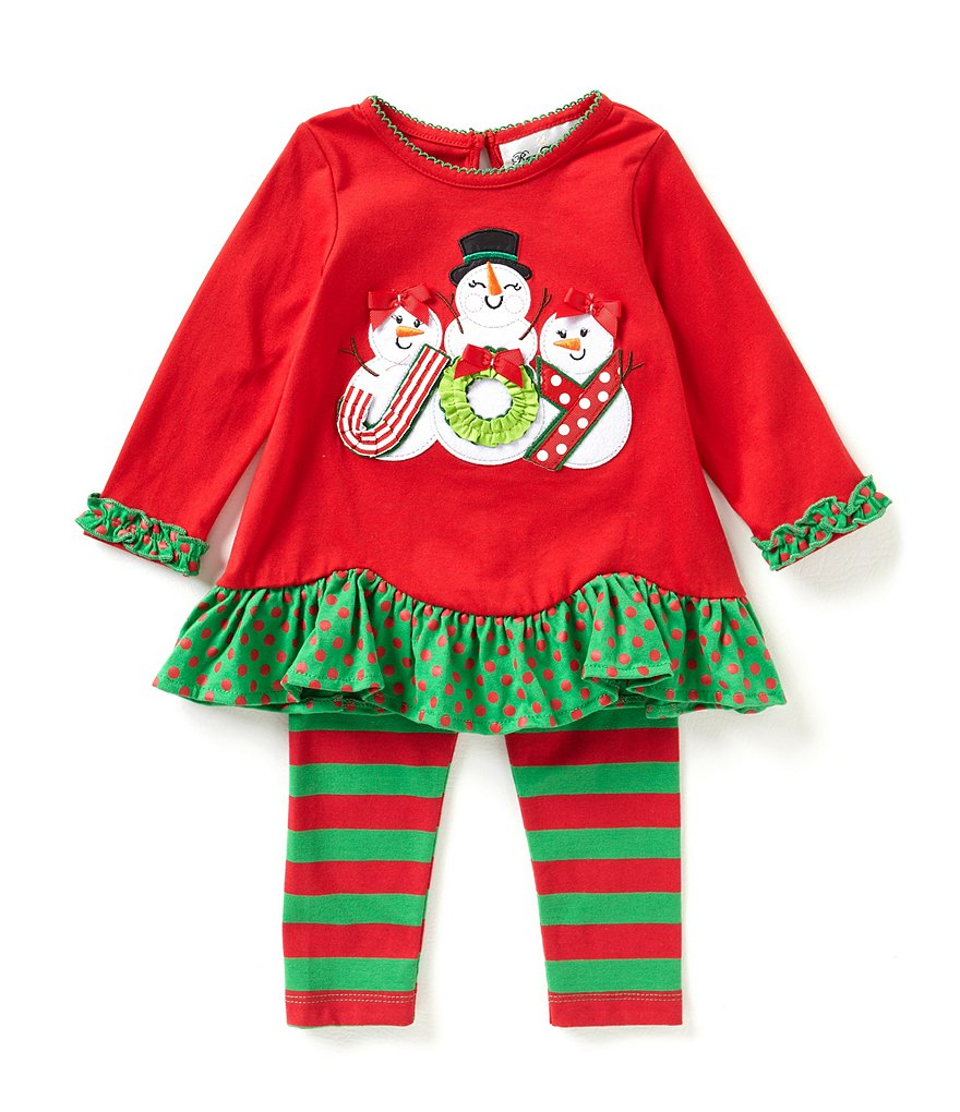 Rare Editions 3-24 Months Christmas Joy Snowmen Top & Striped Legging Set