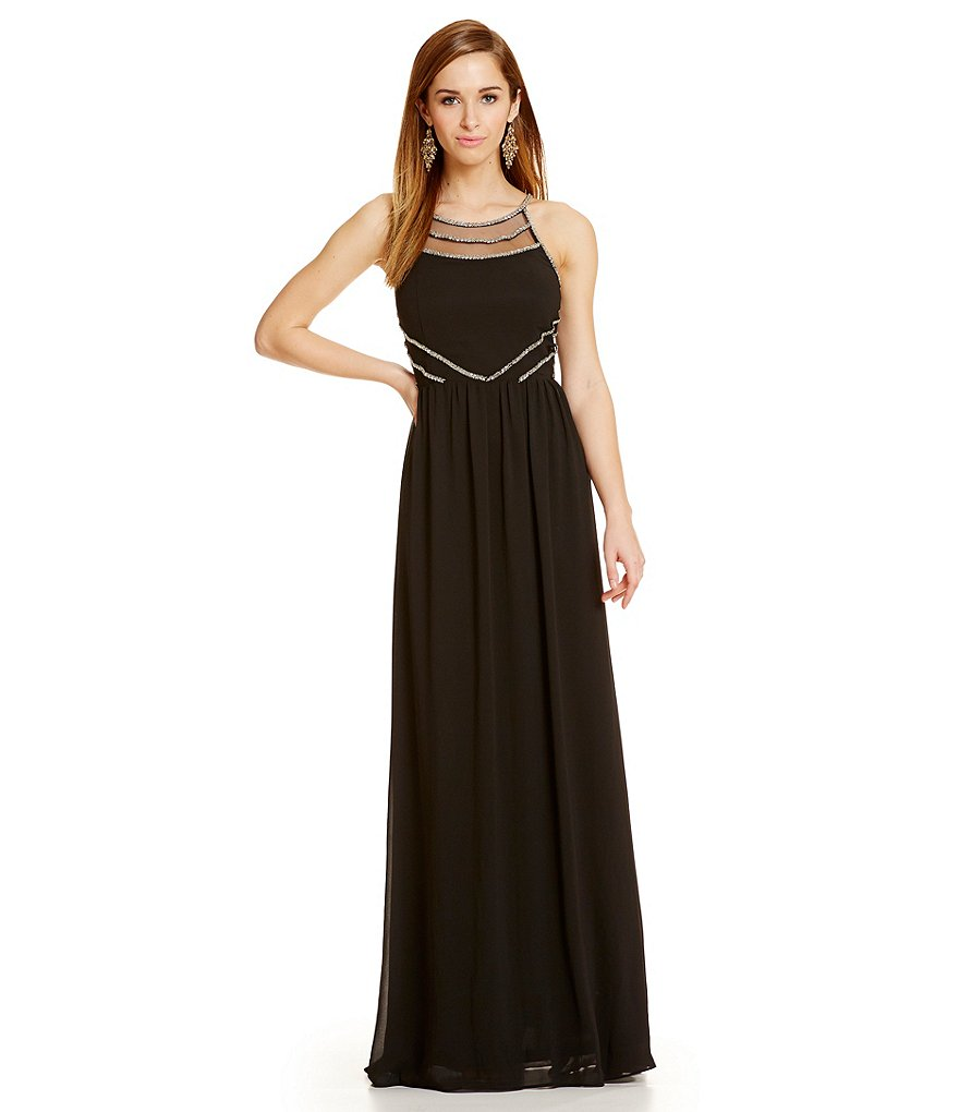 GB Metallic Embellished High Neck Gown