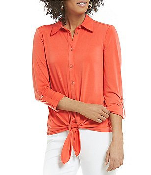 Peter Nygard Petite Tie-Front Roll-Tab Blouse