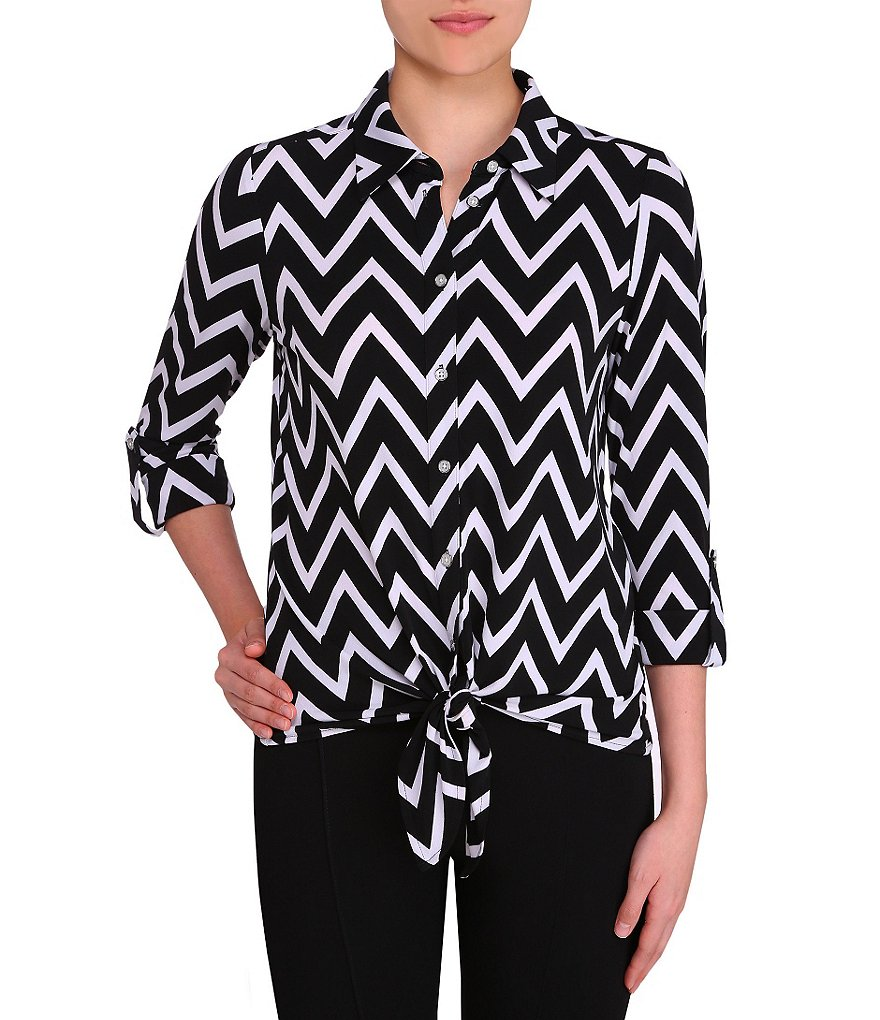 Peter Nygard Chevron-Striped Tie Front Blouse