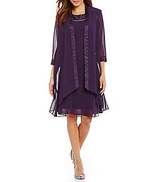 Le Bos Draped 2-Piece Chiffon Jacket Dress