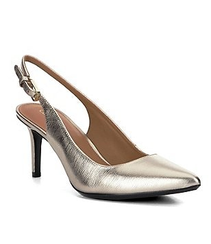 Calvin Klein Giovanna Metallic Leather Slingback Pumps