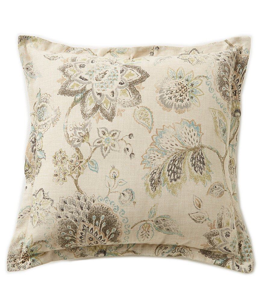 Villa by Noble Excellence Marcella Floral Jacobean Cotton Square Pillow