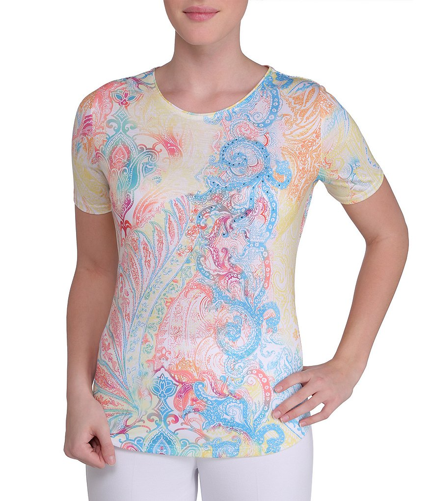 Allison Daley Petite Paisley-Print Embellished-Neck Knit Top