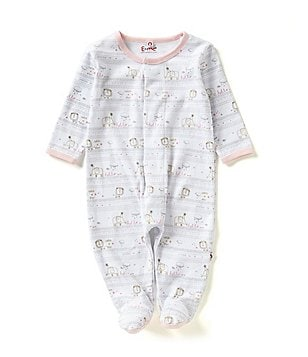 E=MC2 Baby Girls 6-9 Months Hello World Magnetic-Closure Footed Coveralls