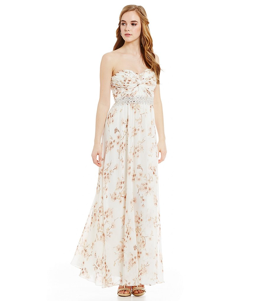 Jodi Kristopher Strapless Knot Front Floral Print Gown