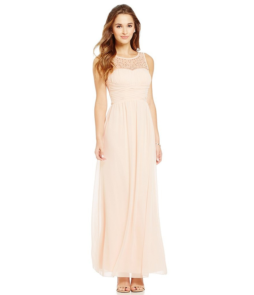 Xtraordinary Embellished Illusion Yoke Long Dress