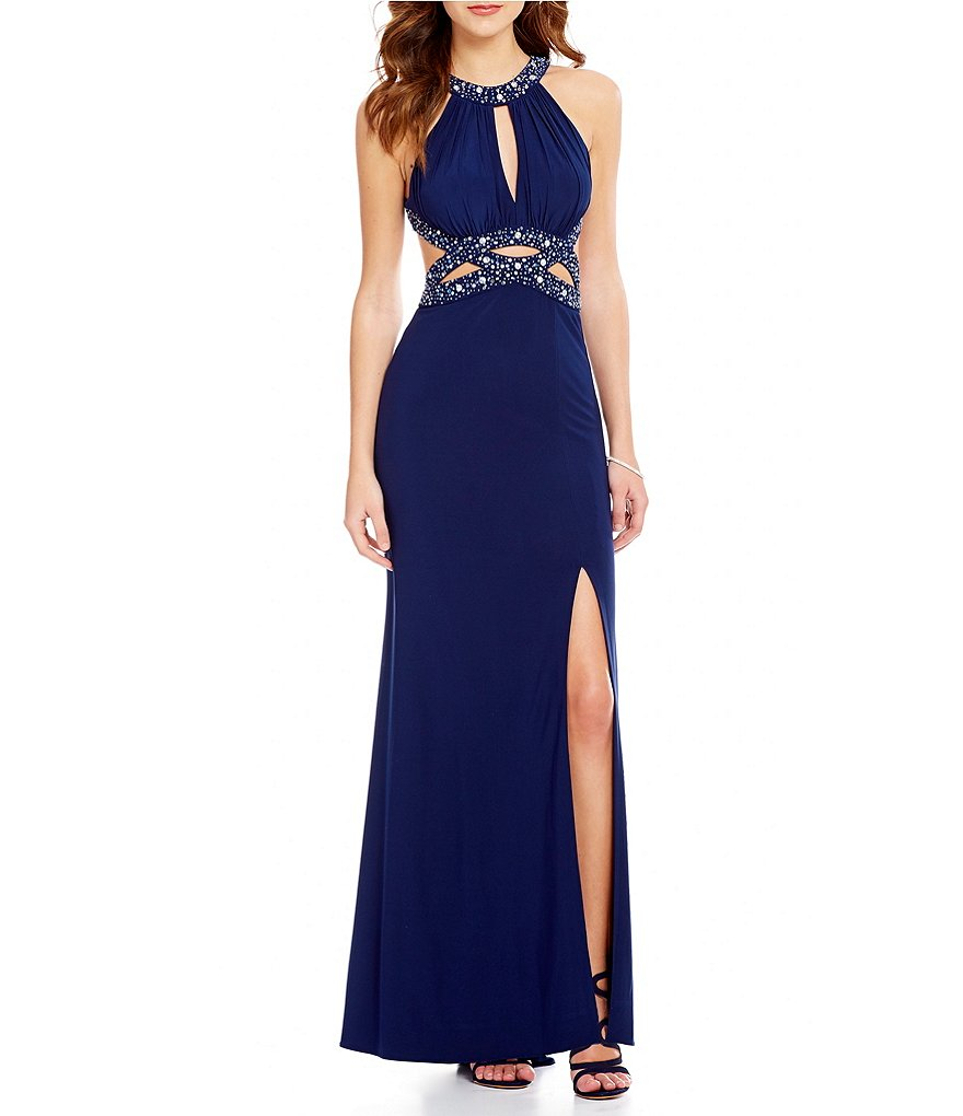 Morgan & Co. High Neck Bead-Trimmed Cutout Waist Open-Back Gown