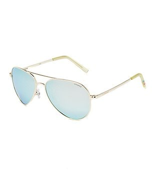 Polaroid Polarized Mirror Double Bridge Metal Aviator Sunglasses