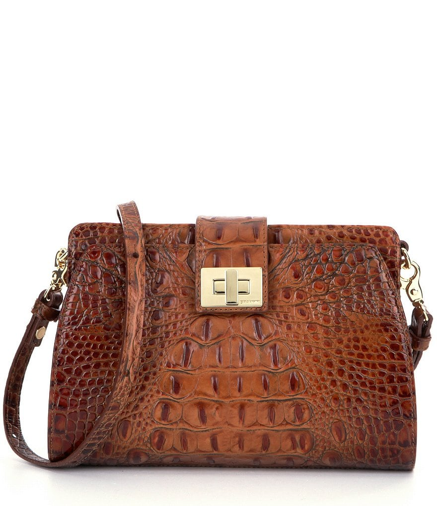 Brahmin Toasted Almond Collection Alena Embossed Cross-Body Bag
