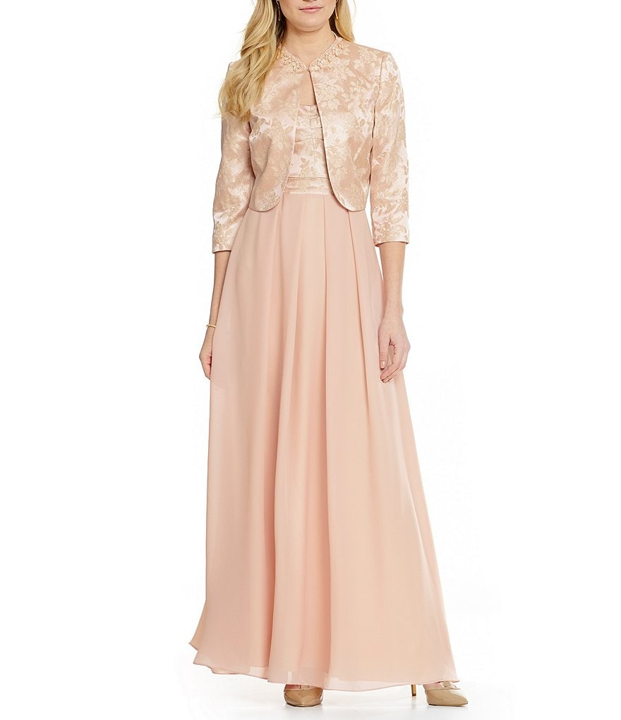 Tahari ASL Metallic Jacquard Jacket with Chiffon Skirt Dress