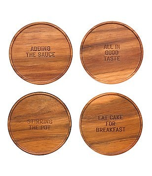 kate spade new york All in Good Taste 4-Piece Wood Coaster Set