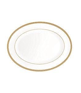 Waterford Lismore Lace Gold Bone China Oval Platter Image