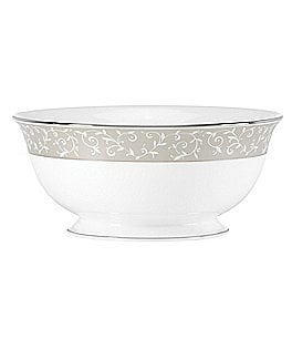 Lenox Opal Innocence Dune Vine & Pearl Platinum Bone China Serving Bowl Image