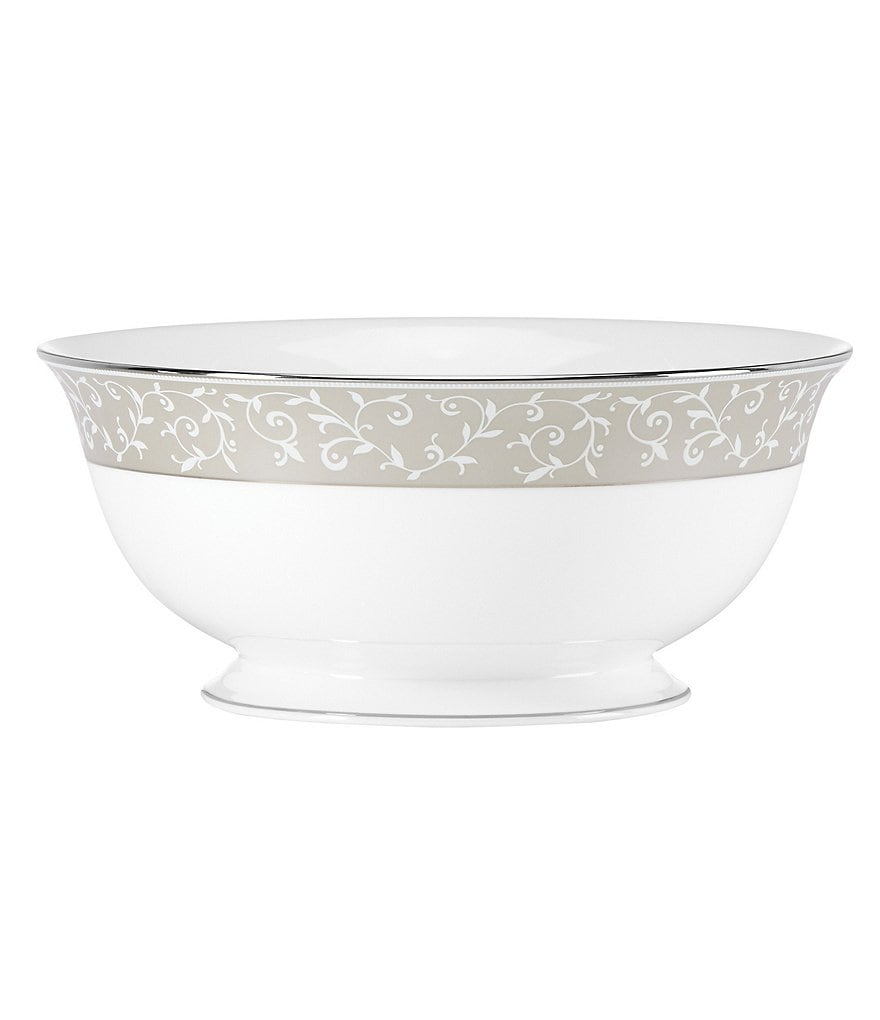 Lenox Opal Innocence Dune Vine & Pearl Platinum Bone China Serving Bowl
