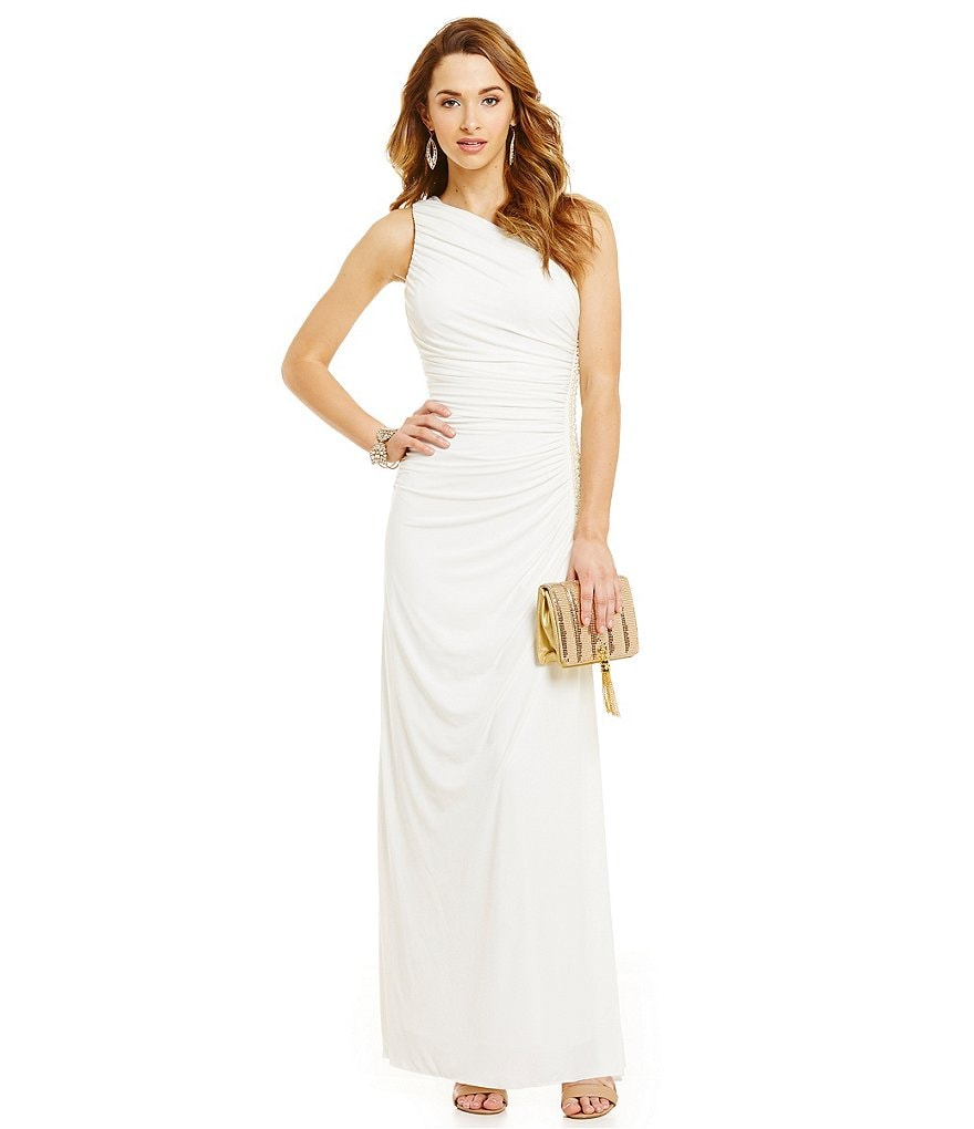Xtraordinary One Shoulder Pearl Side Trim Gown