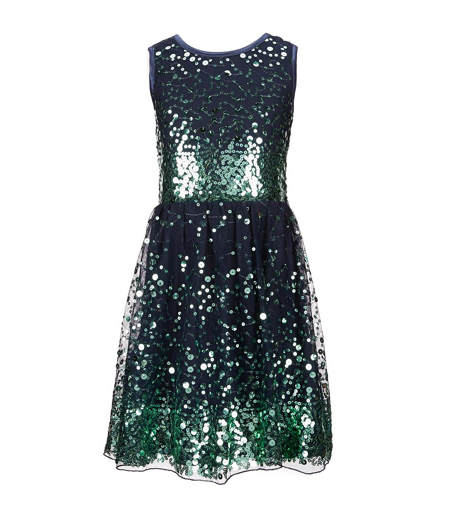 Poppies and Roses Big Girls 7-16 Metallic Sequin-Embellished Illusion-Waist Dress