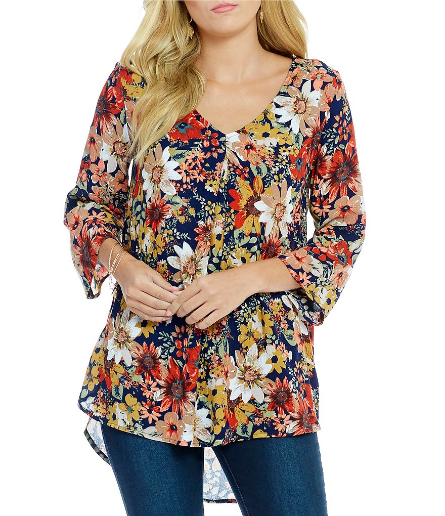 Bobeau 3/4 Roll-Tab Sleeve Floral Print Woven Top