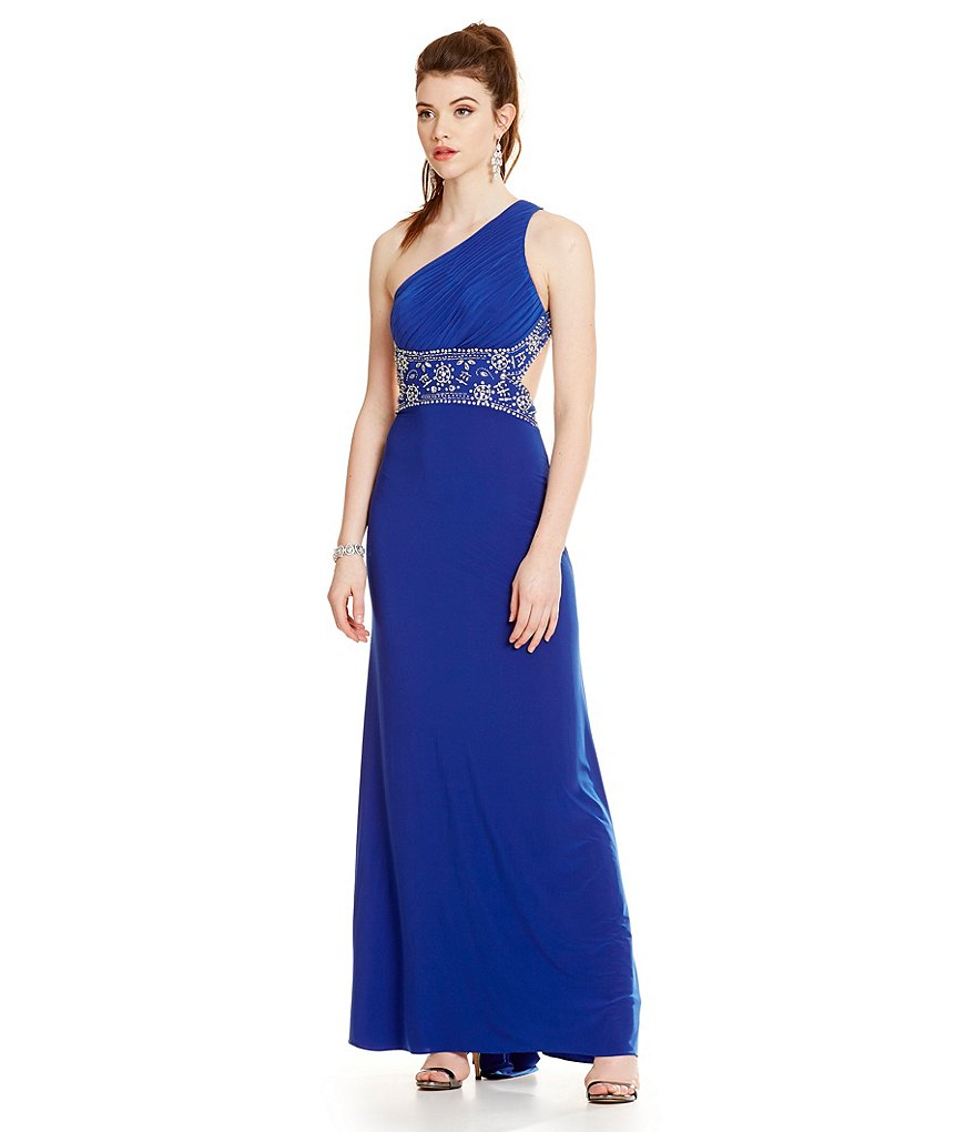 Blondie Nites One Shoulder Beaded Trim Open Back Long Dress