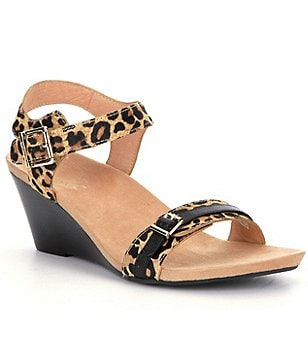Vionic® Noble Laurie Leopard-Print Wedge Sandals