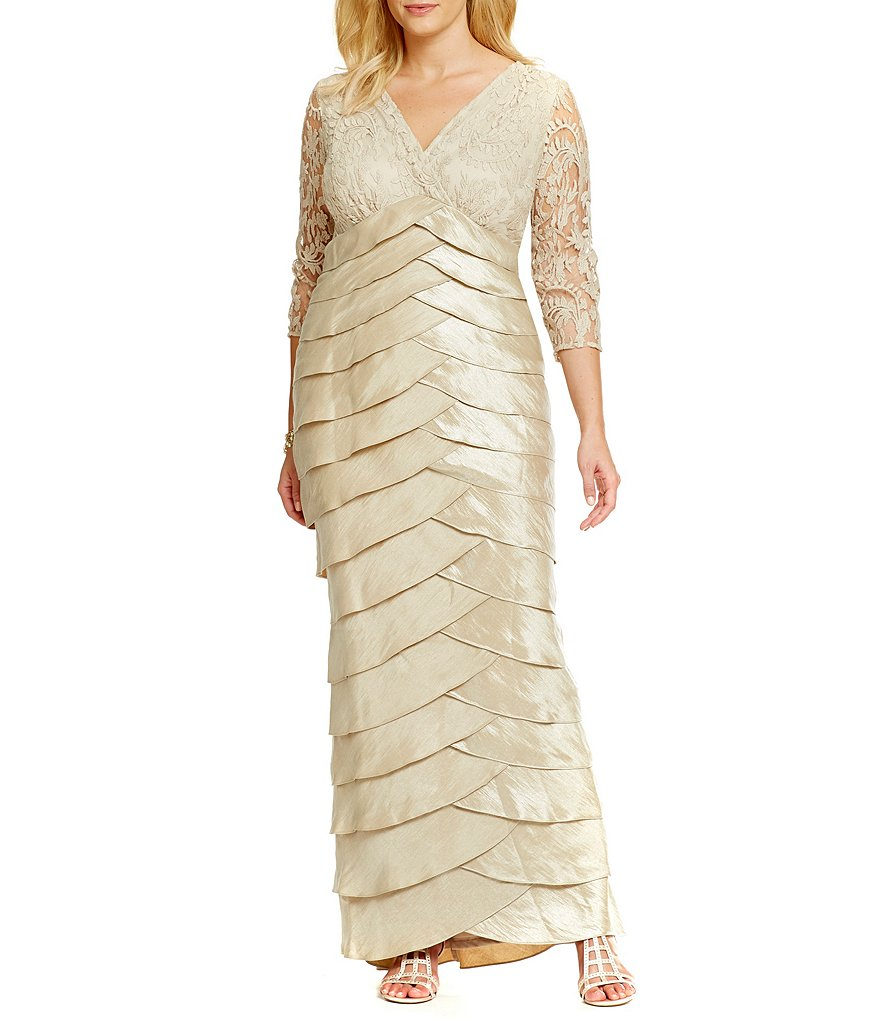 Adrianna Papell Plus Lace-Top Shutter Gown