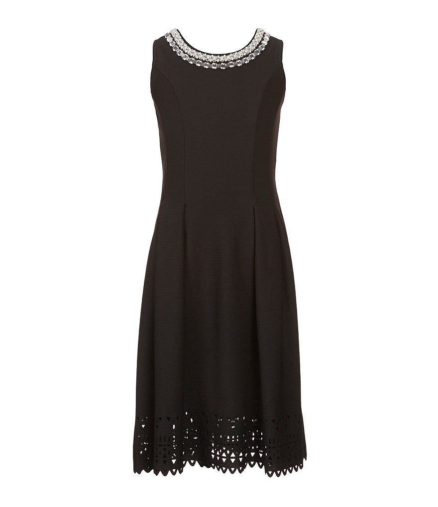 Monteau Girl Big Girls 7-16 Sleeveless Laser Cut Border Dress