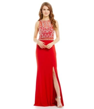 02e60b8a32 Coya Collection Beaded Illusion Bodice Mock 2-Piece Gown