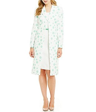 John Meyer Belted Polka Dot Coat Dress