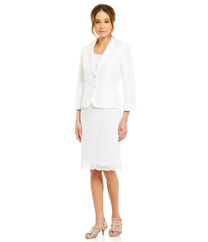 John Meyer Two-Piece Stretch Lace Peplum Jacket Dress