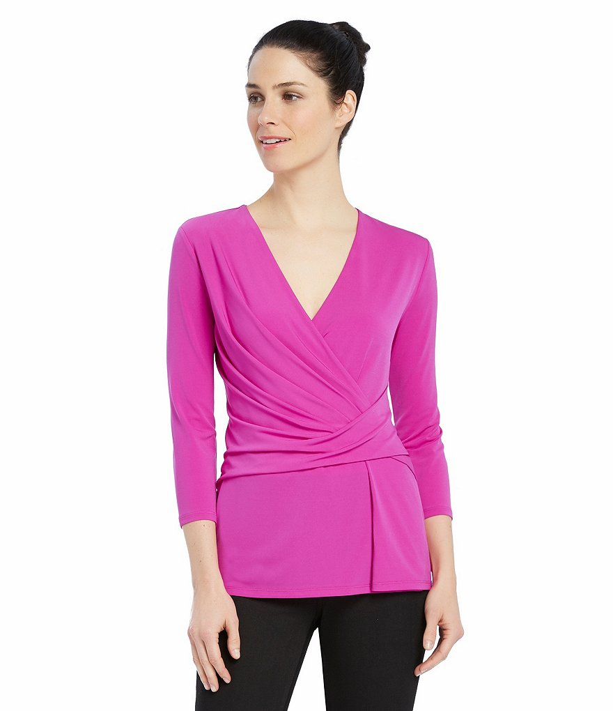Ellen Tracy 3/4 Sleeve Twist Faux-Wrap Knit Jersey Top