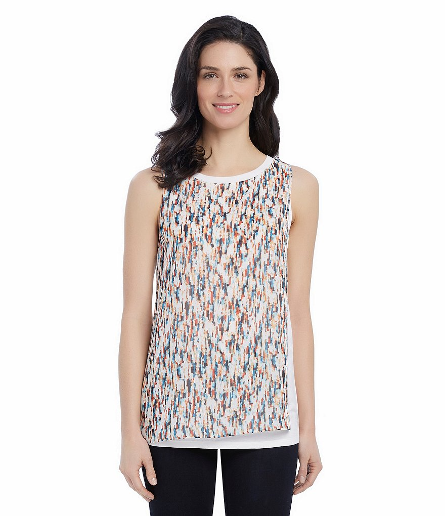 Ellen Tracy Printed Georgette Overlay Knit Tank Top