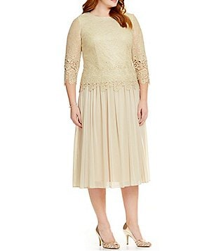Alex Evenings Plus Mock Dress with Illusion Sleeves