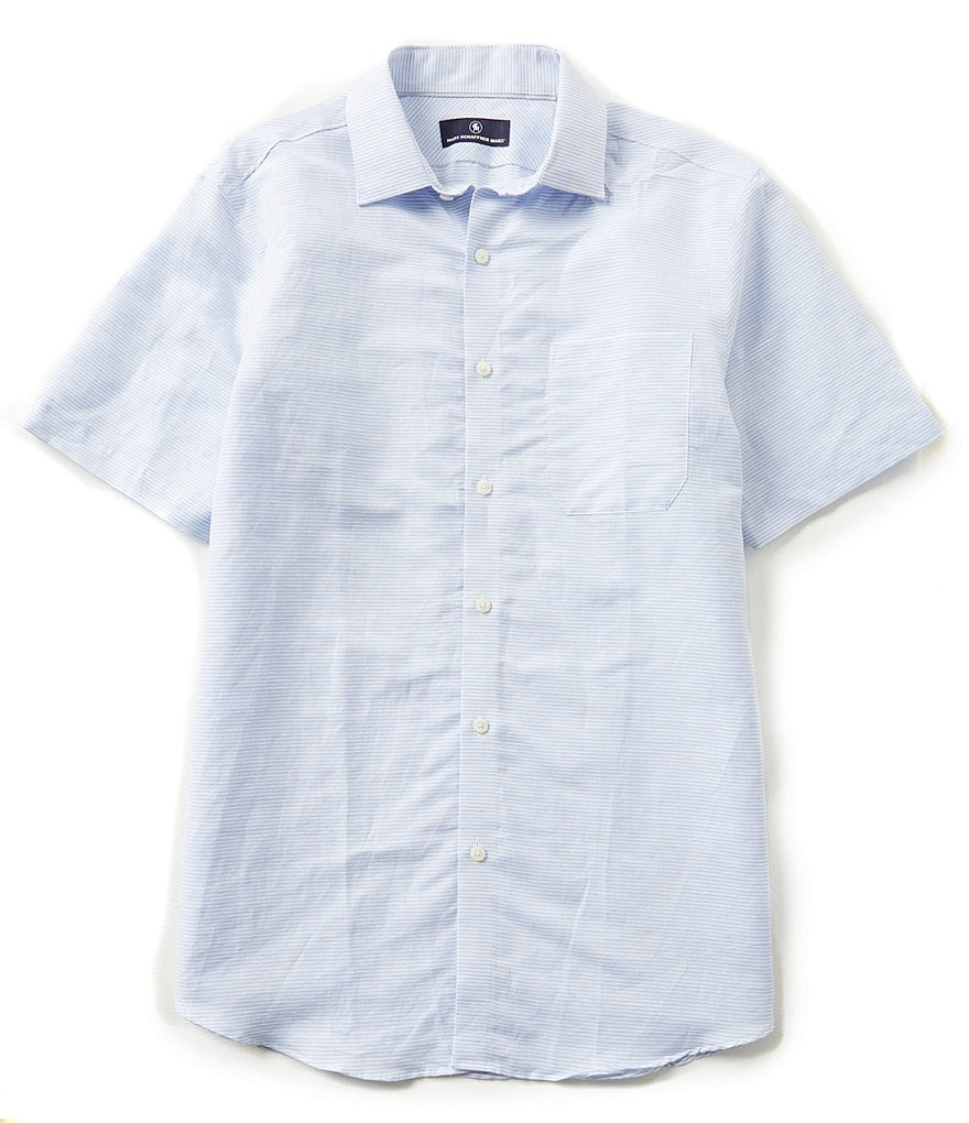 Hart Schaffner Marx Short-Sleeve Horizontal Stripe Woven Shirt