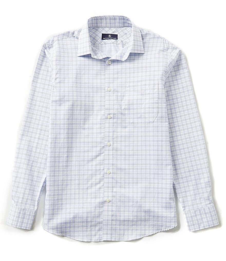 Hart Schaffner Marx Long-Sleeve Twill Plaid Woven Shirt
