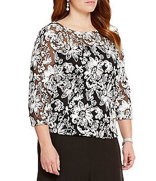 387f22c4d9d Womens Casual Dressy Tops Blouses Dillards. alex evenings plus embroidered  illusion blouse