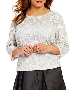 Alex Evenings Plus Embroidered Illusion Blouse