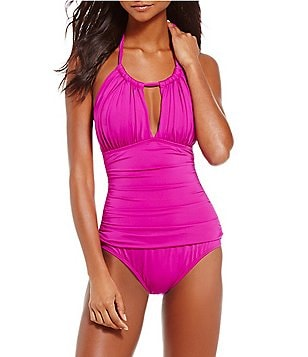 Kenneth Cole New York Shirr Thing High-Neck One-Piece Swimsuit