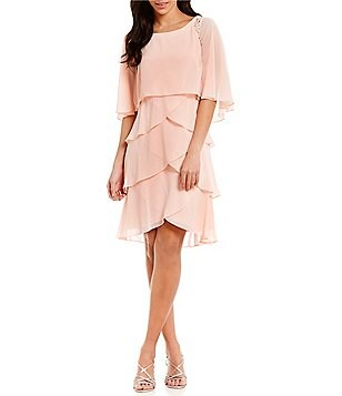 S.L. Fashions Bead-Trim Tiered Dress