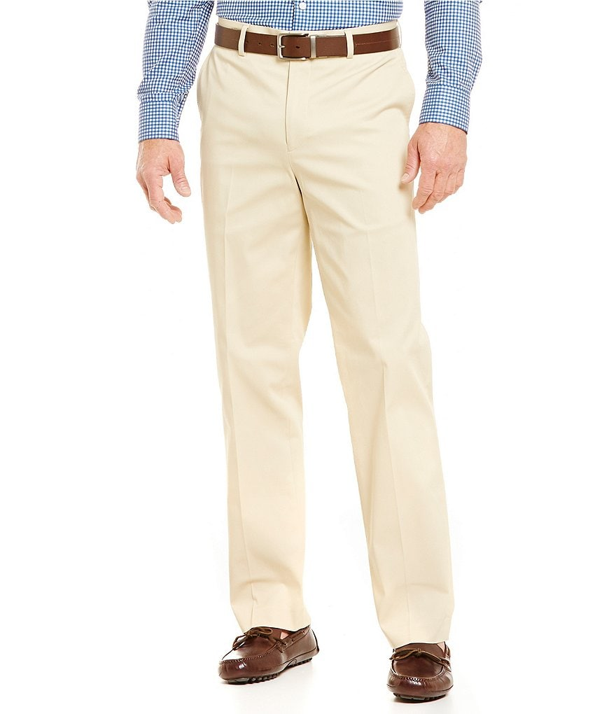 Hart Schaffner Marx Straight Flat-Front Twill Pants