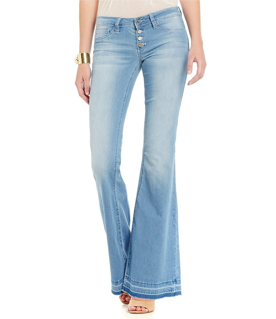 YMI Jeanswear Exposed-Button Flare Jeans
