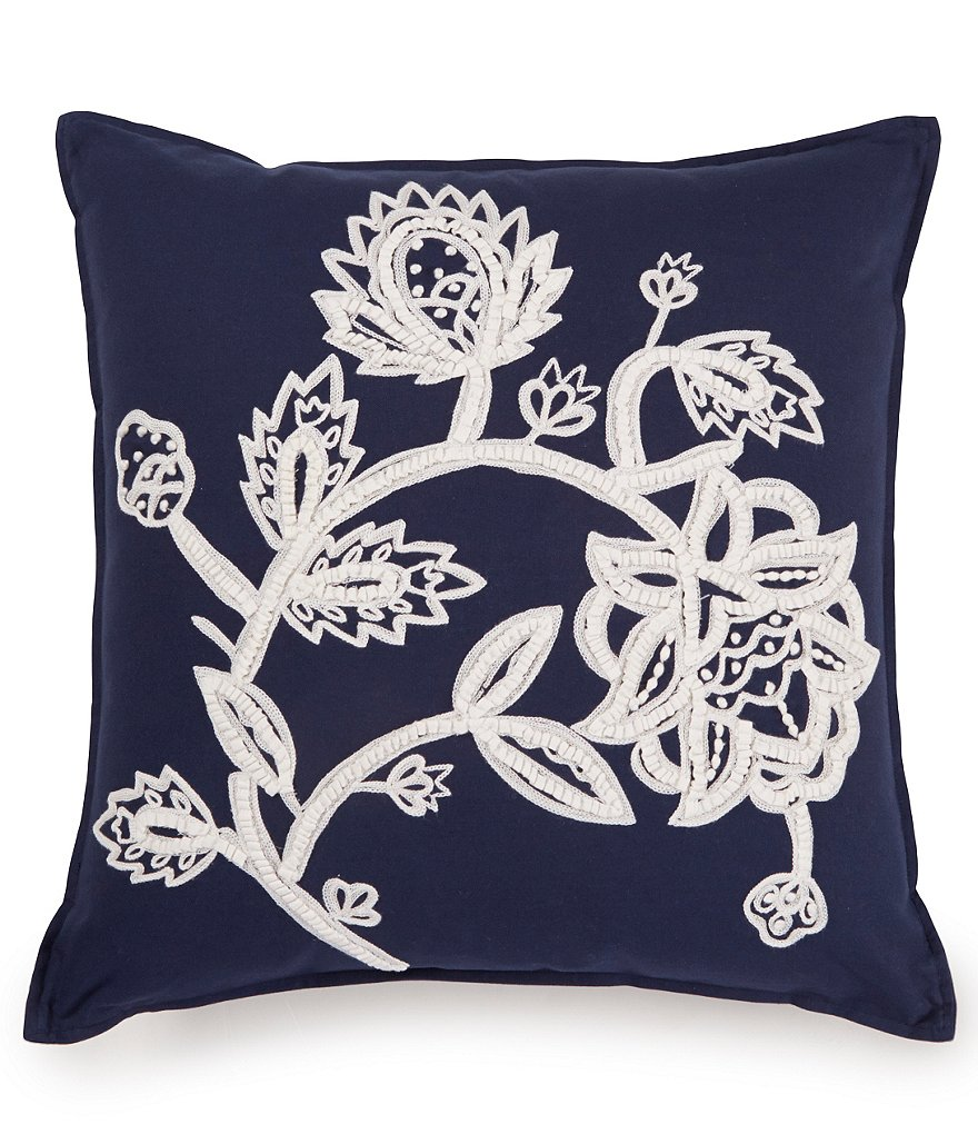 Southern Living Nora Floral Jacobean Embroidered Square Pillow