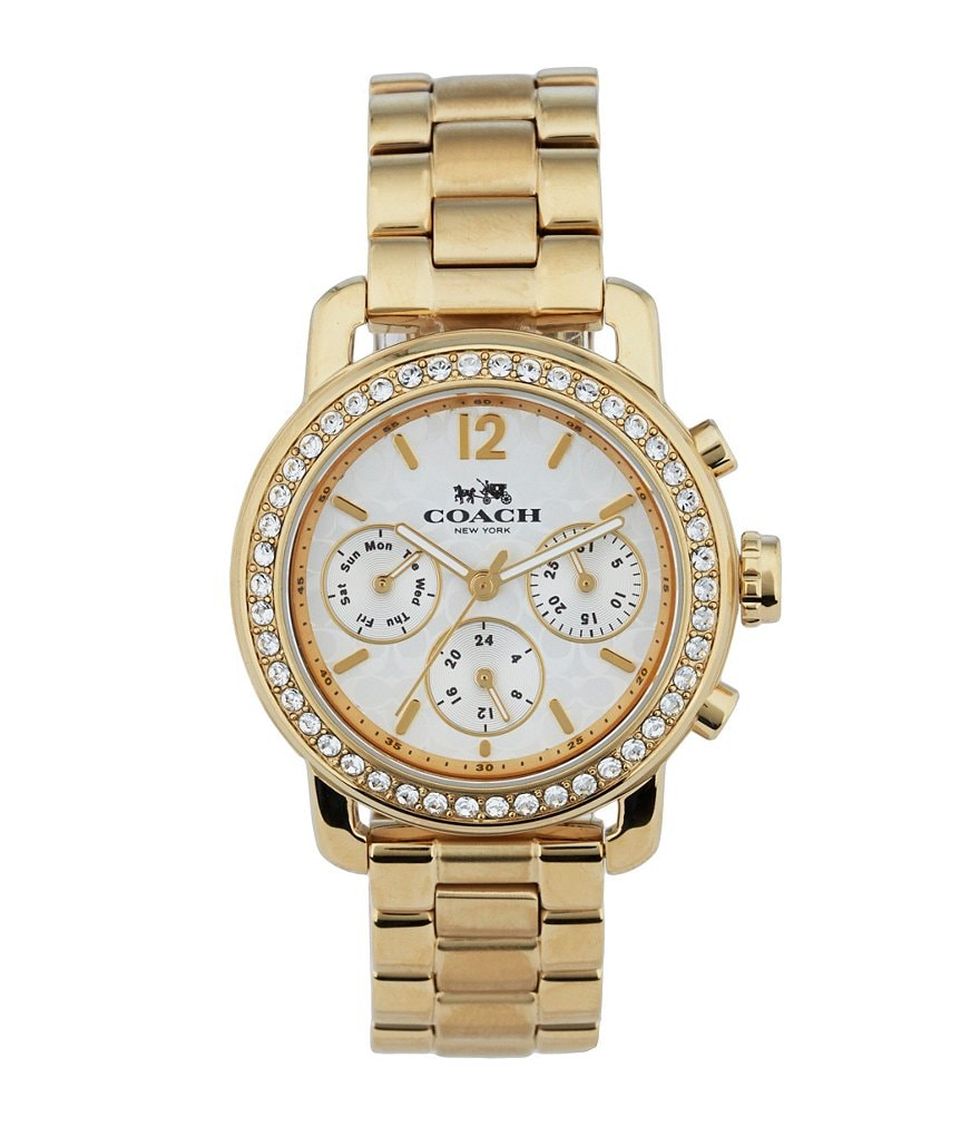 COACH LEGACY SPORT MULTIFUNCTION GOLD PLATED BRACELET WATCH