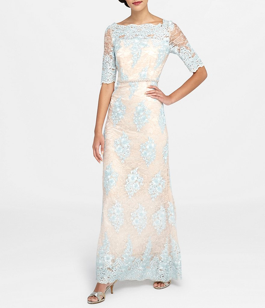 Tahari ASL Lace Applique Scalloped Gown
