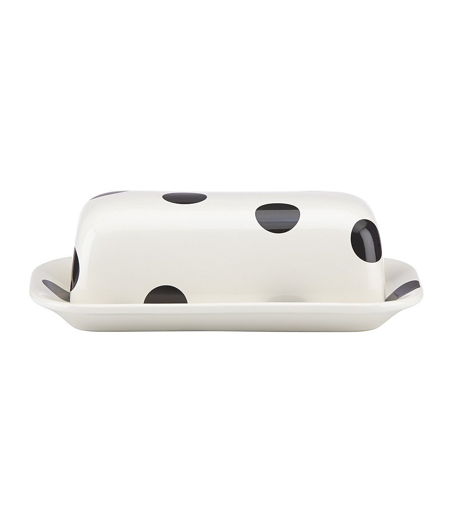 kate spade new york All in Good Taste Deco Dot Stoneware Covered Butter Dish