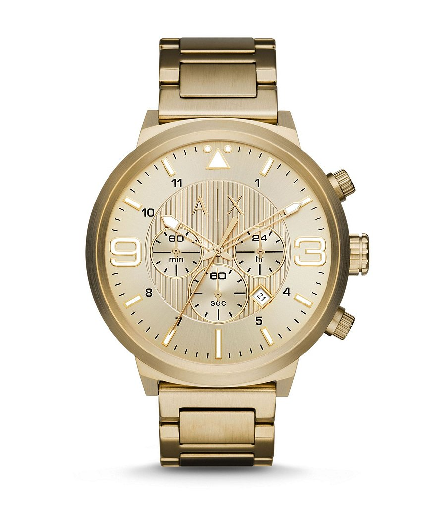 AX Armani Exchange Men´s Street Gold-Tone Stainless Steel 3 Hand Chronograph Watch